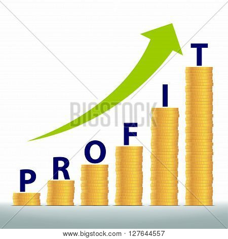 Graph revenue growth and profits. Gold coins stacked pile. Stock vector illustration.