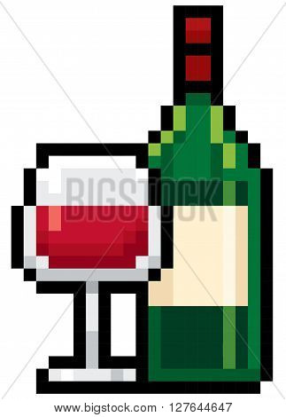 Vector Illustration of Bottles wine - Pixel design
