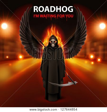 RoadHog Ilustration with burning scytheman and text-i am waiting for you-over blurred road with lights