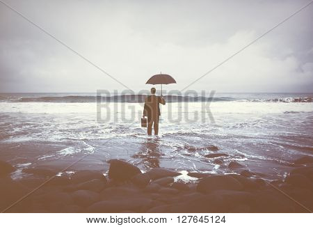 Lonely Businessman Alone Beach Concept