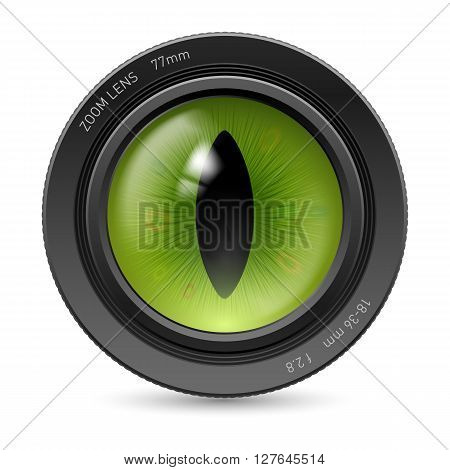 Camera lens isolated on white background. Illustration green pupil reptiles