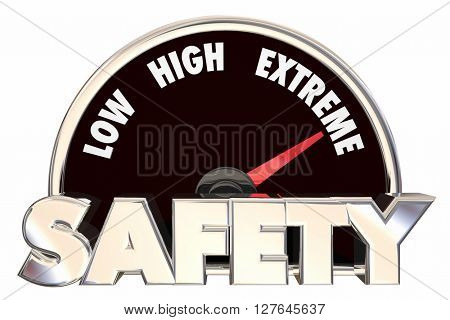 Safety Security Words Gauge Measure Maximum Protection 3d