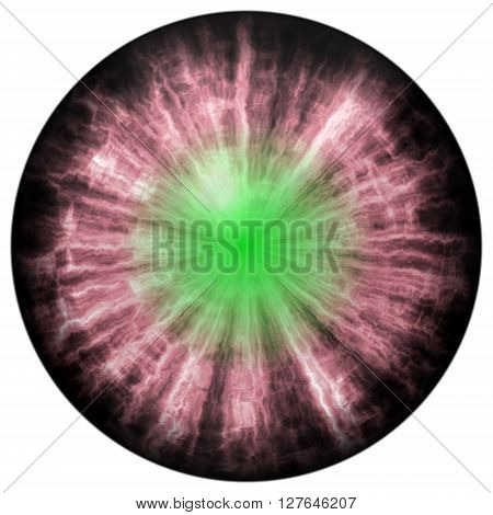 Isolated Animal Eye With Green Pupil And Bright Green Retina. Red Iris Around Pupil, Eye Bulb.
