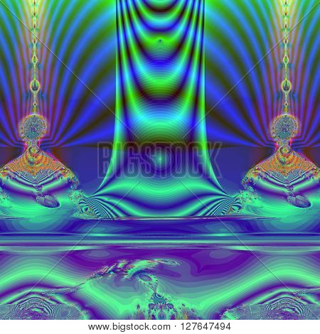 Colorful Fractal Background. A fractal is a natural phenomenon or a mathematical set that exhibits a repeating pattern that displays at every scale.fractal illustration of a mysterious Buddha
