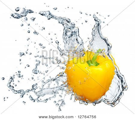 Pepper in spray of water. Juicy peach with splash on white background