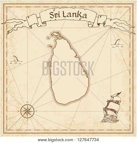 Sri Lanka Old Treasure Map. Sepia Engraved Template Of Pirate Map. Stylized Pirate Map On Vintage Pa