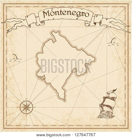 Montenegro Old Treasure Map. Sepia Engraved Template Of Pirate Map. Stylized Pirate Map On Vintage P