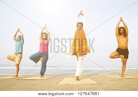 Yoga Class By The Beach Concept