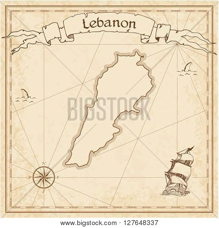 Lebanon Old Treasure Map. Sepia Engraved Template Of Pirate Map. Stylized Pirate Map On Vintage Pape