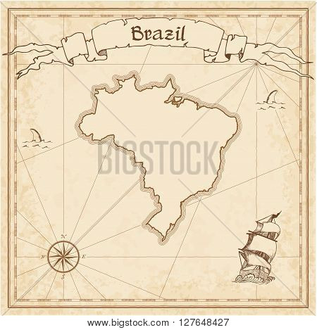 Brazil Old Treasure Map. Sepia Engraved Template Of Pirate Map. Stylized Pirate Map On Vintage Paper