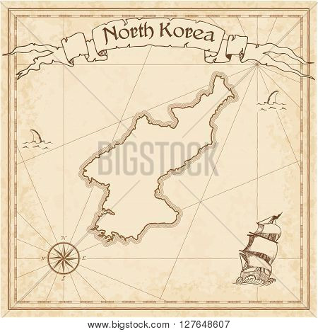 Korea, Democratic People's Republic Of Old Treasure Map. Sepia Engraved Template Of Pirate Map. Styl