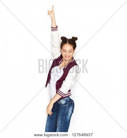 people, teens and party concept - happy smiling pretty teenage girl dancing