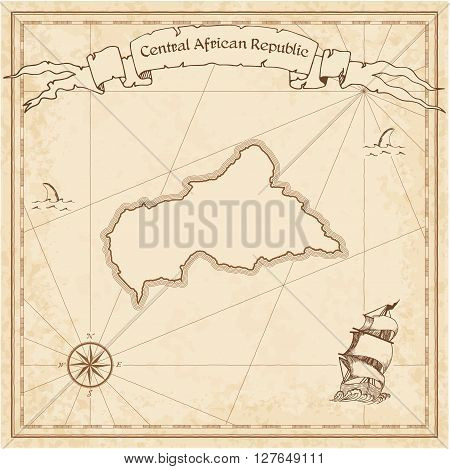 Central African Republic Old Treasure Map. Sepia Engraved Template Of Pirate Map. Stylized Pirate Ma