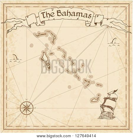 Bahamas Old Treasure Map. Sepia Engraved Template Of Pirate Map. Stylized Pirate Map On Vintage Pape