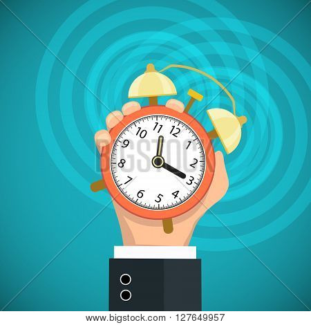 Human hand holding a alarm clock. Flat graphic. Stock vector illustration.