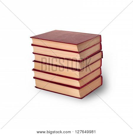 stack of old books on a white background