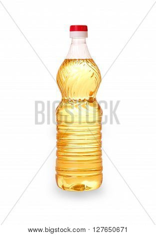 bottle with a yellow sunflower oil cut out on white background