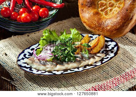 Herring with Onion and Roasted Potato