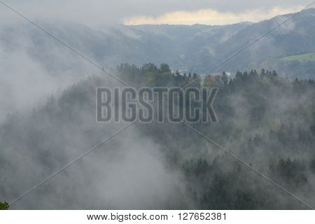 Hilly and misty autumn landscape - fog