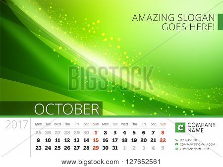 Desk Line Calendar For 2017 Year. Vector Design Print Template With Abstract Background. October. We