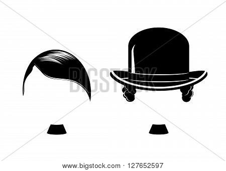 set the icon of a man. A silhouette of two men with moustaches of black color on a white background