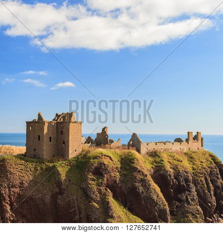Dunnottar Castle with blue sky in - Stonehaven Aberdeen Scotland UK ** Note: Soft Focus at 100%, best at smaller sizes