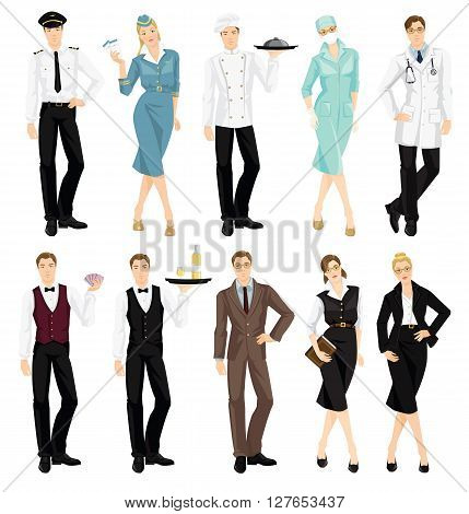 Vector illustration of professional people in uniform isolated on white background. Pilot, air hostess, cook chief, surgeon, doctor, croupier, waiter, professor, librarian, secretary or business lady.