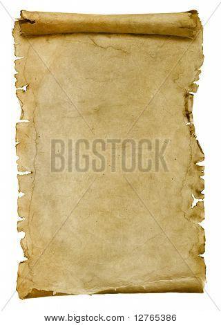 hoja de papel viejo aislada en blanco