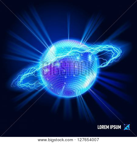 Disco ball surrounded by a stream of blue energy in the space