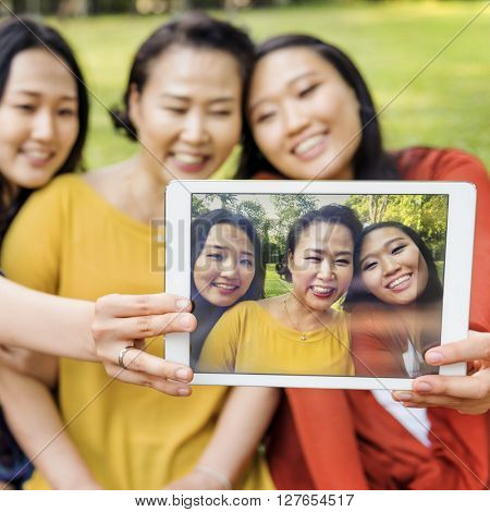 Mother Daughter Happiness Taking Selfie Concept