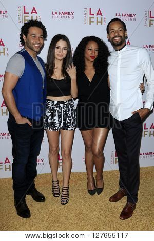 LOS ANGELES - APR 21:  Corbin Bleu, Sasha Clements, Monique Coleman, Walter Jordan at the LA Family Housing Awards at the The Lot on April 21, 2016 in Los Angeles, CA