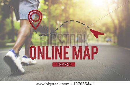 Online Map Internet Media Navigation Route Concept