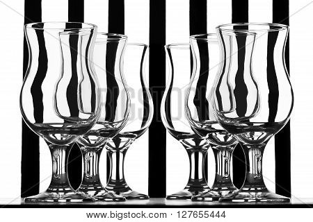 Still life with glasses, black and white still life