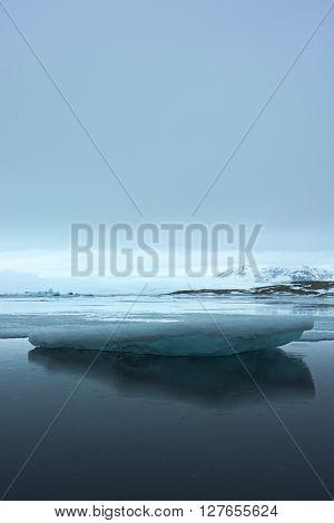 Big ice floe in glacier lake Jökulsárlón in Iceland