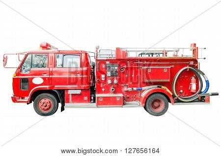 dirt old fire truck and close up equipments. Isolated on white.