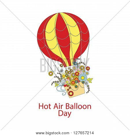 Hot Air Balloon Day. large color Hot Air Balloon with a bouquet of flowers. vector illustration isolated on white background with text greeting. banner cartoon style
