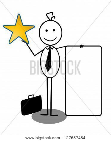 Businessman with banner And Star .eps10 editable vector illustration design