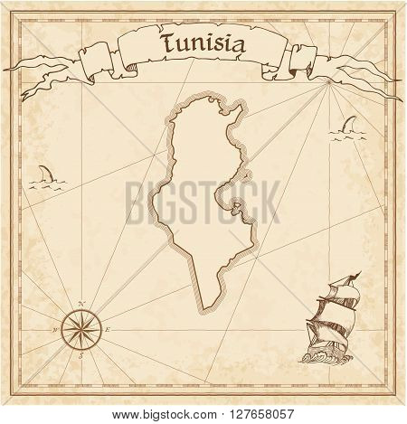 Tunisia Old Treasure Map. Sepia Engraved Template Of Pirate Map. Stylized Pirate Map On Vintage Pape