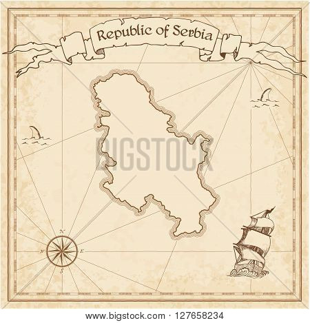 Serbia Old Treasure Map. Sepia Engraved Template Of Pirate Map. Stylized Pirate Map On Vintage Paper