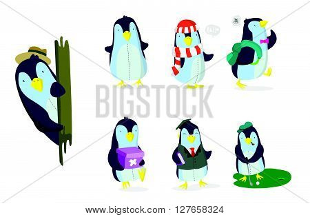 Penguin Set .eps10 editable vector illustration design