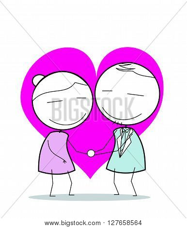 Love Grandmother And Father .eps10 editable vector illustration design