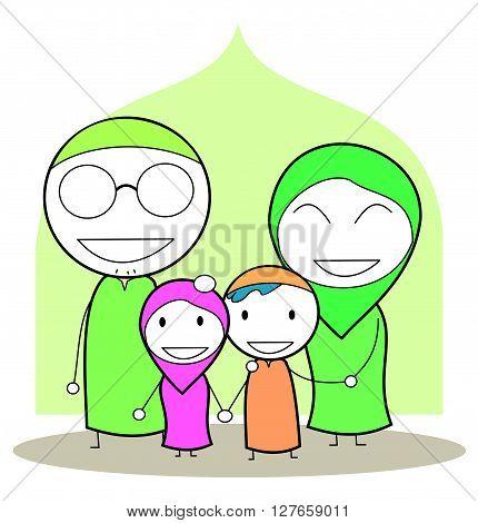 Moslem family .eps10 editable vector illustration design