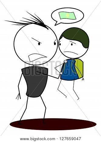 Bully child .eps10 editable vector illustration design