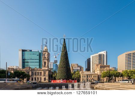 Adelaide Australia - January 3 2016: Christmas Tree installed at Victoria Square in Adelaide CBD. Victoria Square is the main meeting point for Adelaideans on the New Year's Eve