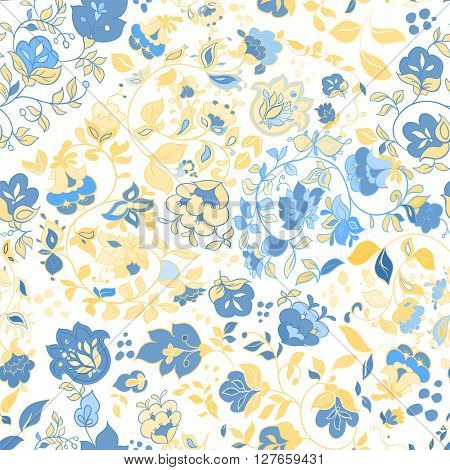 Vector summer doodle seamless pattern. Floral background wallpaper. White seamless pattern with blue flowers.