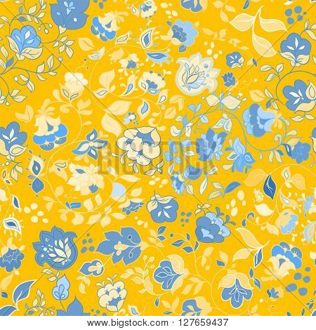Vector summer doodle seamless pattern. Floral background wallpaper. Yellow seamless pattern with blue flowers