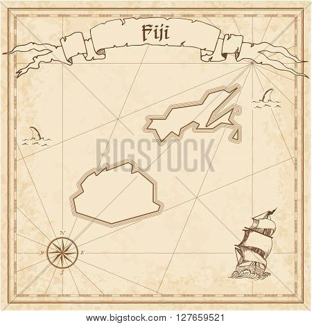 Fiji Old Treasure Map. Sepia Engraved Template Of Pirate Map. Stylized Pirate Map On Vintage Paper.