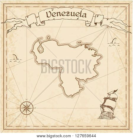 Venezuela, Bolivarian Republic Of Old Treasure Map. Sepia Engraved Template Of Pirate Map. Stylized