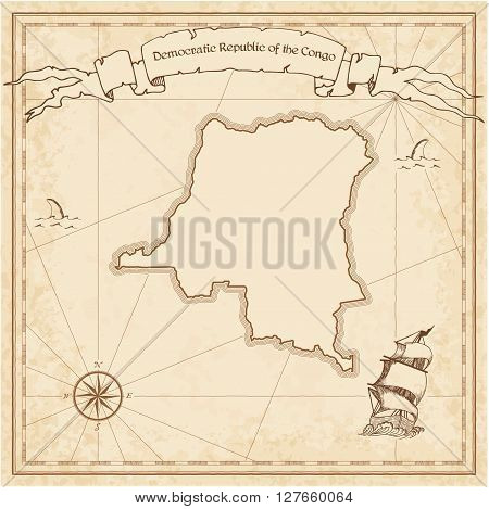 Congo, The Democratic Republic Of The Old Treasure Map. Sepia Engraved Template Of Pirate Map. Styli