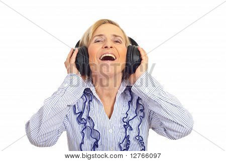 Laughing Senior With Headphones
